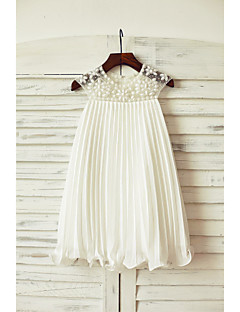 Sheath / Column Knee Length Flower Girl Dress - Chiffon Short Sleeves Jewel Neck with Beading Draping by LAN TING BRIDE®