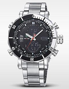 billige Digitalure-WEIDE Herre Quartz Japansk Quartz Armbåndsur Alarm Kalender Kronograf Vandafvisende Dobbelte Tidszoner LCD Rustfrit stål Bånd Luksus Sølv