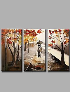 tanie Pejzaże abstrakcyjne-Hang-Malowane obraz olejny Ręcznie malowane - Krajobraz Nowoczesny Naciągnięte płótka / Trzy panele / Rozciągnięte płótno