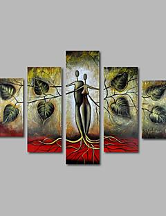 tanie Pejzaże abstrakcyjne-Hang-Malowane obraz olejny Ręcznie malowane - Krajobraz Nowoczesny Brezentowy Pięć paneli