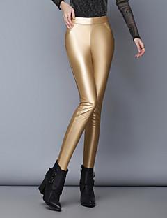 baratos Calças Femininas-Mulheres Cintura Baixa Justas/Skinny Jeans Calças - Sólido