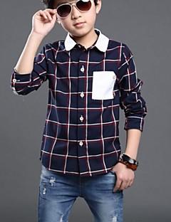 Katoen-Alle seizoenen-Boy's-Overhemd-Blokken