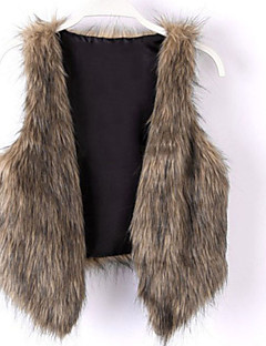 cheap Women's Furs & Leathers-Women's Faux Fur Fur Coat - Solid Solid Color, Formal Style V Neck