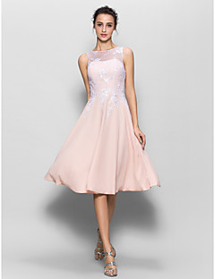 cheap Romance Blush-A-Line Scoop Neck Knee Length Chiffon Beaded Lace Bridesmaid Dress with Lace by LAN TING BRIDE®