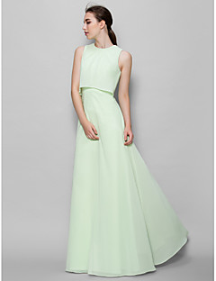 billige Grønn glamour-A-linje Besmykket Gulvlang Chiffon Brudepikekjole med Plissert av LAN TING BRIDE®