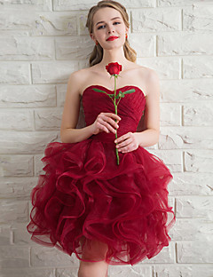 cheap Bridesmaid Dresses-Ball Gown Sweetheart Short / Mini Organza Bridesmaid Dress with Cascading Ruffles by LAN TING Express