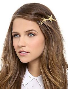 Women Metal Three Golden Stars Pattern Hairpin Clip Hair Accessories