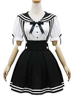 セーラーロリータ キュート 女性用 ワンピース ドレス コスプレ ブラック 半袖