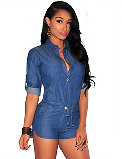 Women's Daily Sexy Street chic Solid Shirt Collar Rompers,Loose Half Sleeves Spring Summer