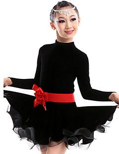 hesapli -Latin Dansı Kıyafetler Çocuklar için Performans Pamuk Spandeks Polyester Linen 2 Parça Elbise Bel Kemeri