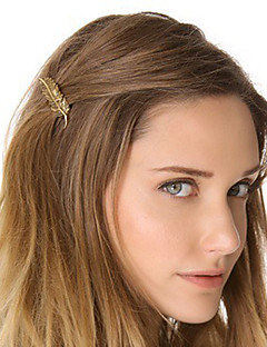 Women Metal Golden Leaf Hairpin Side Folder Hair Accessories