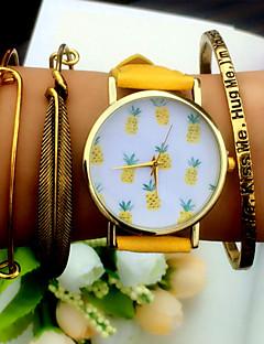 女性用 ファッションウォッチ ブレスレットウォッチ クォーツ クロノグラフ付き PU バンド ブラック 白 ブラウン グリーン 黄色