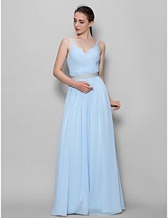 tanie Królewski błękit-Krój A Pasy Sięgająca podłoża Szyfon Sukienka dla druhny z Krzyżowe przez LAN TING BRIDE®
