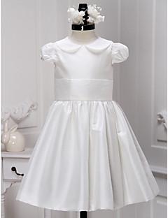 tanie Sukienki dla dziewczynek z kwiatami-LAN TING BRIDE Krój A Do kolan Sukienka dla dziewczynki z kwiatami - Satyna Zaokrąglony z Plisy