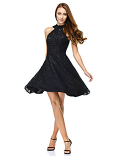 A-Line Jewel Neck Knee Length Lace Cocktail Party Homecoming Prom Dress with Lace by TS Couture®