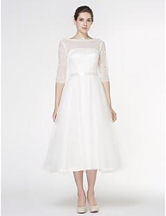 billiga A-linjeformade brudklänningar-A-linje Bateau Neck Telång Spets / Tyll Bröllopsklänningar tillverkade med Spets av LAN TING BRIDE® / Genomskinliga