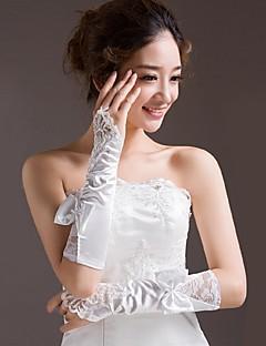 サテンの肘の長さの手袋ブライダルグローブと弓古典的な女性のスタイル