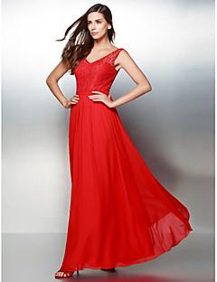 billiga Aftonklänningar-A-linje V-hals Ankellång Chiffong Spets Bal / Formell kväll Klänning med Spets av TS Couture®