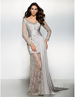 billiga Aftonklänningar-Åtsmitande V-hals Watteausläp Chiffong Spets Formell kväll Klänning med Spets av TS Couture®