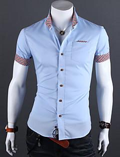billige Herremote og klær-Bomull Tynn Kneppet krage Store størrelser Skjorte Herre - Ensfarget, Grunnleggende Arbeid / Kortermet