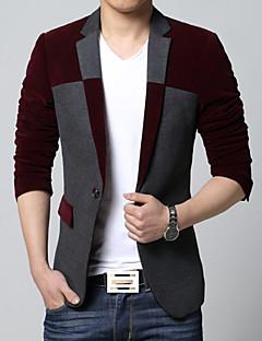 お買い得  メンズブレザー&スーツ-男性用 プラスサイズ ブレザー カラーブロック, カシミヤ コットン
