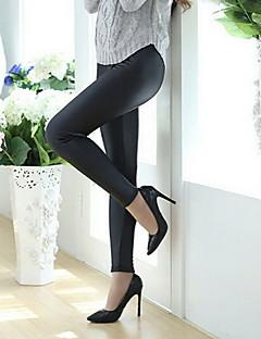 baratos Leggings para Mulheres-Mulheres PU Legging - Côr Sólida Cintura Média