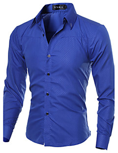 cheap Dress Shirts-Men's Work Business Plus Size Cotton Slim Shirt - Solid Colored Basic Spread Collar / Long Sleeve / Spring / Fall
