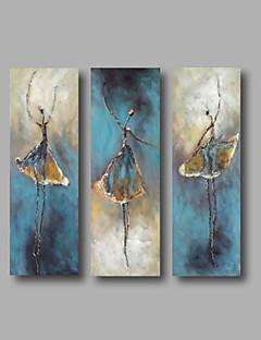 baratos Retratos Abstratos-Pintura a Óleo Pintados à mão - Abstrato / Retratos Abstratos Modern Tela de pintura / Lona esticada