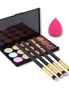 15 renk yüz kapatıcı paleti + 4 adet gözler fırça + güzellik makyaj vakıf yumurta puf (çeşitli setleri)