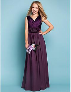 plášť / sloupek v-krk délka chodidla šifon junior družička šaty s květinou lan ting bride®