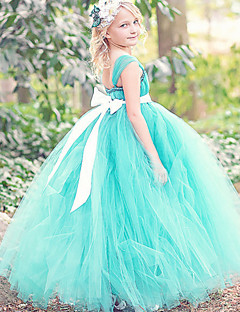 Ball Gown Ankle Length Flower Girl Dress - Polyester Tulle Sleeveless Spaghetti Straps with Bow(s) Sash / Ribbon by LAN TING BRIDE®