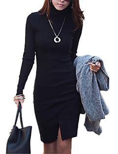Damen Kleid - Hülle Leger Solide Asymmetrisch Baumwolle Rollkragen