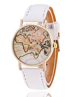 Dames Modieus horloge Armbandhorloge Kwarts World Map Patroon PU Band World Map Patroon Zwart Wit Bruin
