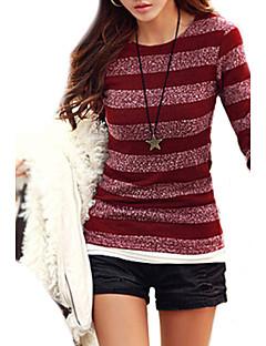 Dames Casual/Dagelijks Eenvoudig Normaal Pullover Gestreept-Ronde hals Lange mouw Katoen Polyester Herfst Dun Micro-elastisch