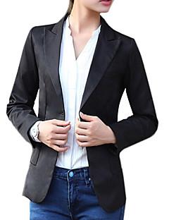 Damen Solide Einfach Arbeit Blazer,Steigendes Revers Frühling Herbst Langarm Standard Baumwolle Others