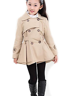 cheap Girls' Clothing-Girls' Solid Trench Coat, Polyester Spring Fall Long Sleeves Pink Khaki