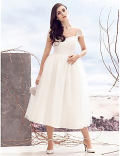 billiga A-linjeformade brudklänningar-A-linje Queen Anne Telång Tyll Anpassade Bröllopsklänningar med Korsvis av LAN TING BRIDE®