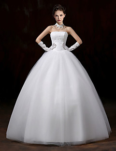 Ball Gown Strapless Floor Length Lace Tulle Wedding Dress with Lace by Embroidered Bridal