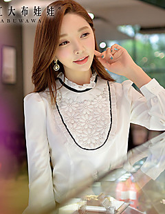 Damen Einfarbig Einfach Formal Hemd,Halskrause Frühling Langarm Weiß Polyester / Elasthan Mittel