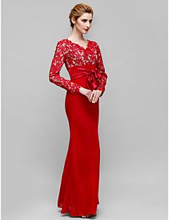baratos Vestidos para as Mães dos Noivos-Sereia Decote V Longo Renda Transparente Vestido Para Mãe dos Noivos com Renda de LAN TING BRIDE®