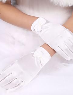 저렴한 웨딩 악세사리-엘라스틱 새틴 / 폴리에스테르 손목 길이 장갑 Klassisk / 신부 장갑 와 솔리드