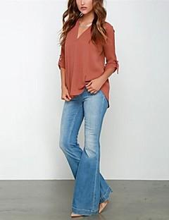 お買い得  レディーストップス-女性用 ワーク - すかしカット プラスサイズ Tシャツ Vネック ソリッド ポリエステル