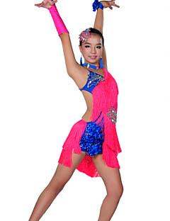 billige Nyheter-Latin Dans Drakter Barne Yteevne Spandex 6 deler Kjole Ermer Nakkeklær Armbånd Hodeplagg Shorts