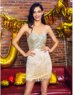 cheap Celebrity Dresses-Sheath / Column Sweetheart Short / Mini Satin Sequined Homecoming / Prom Dress with Beading Sequin by TS Couture®