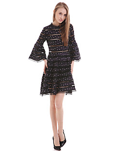 Women's Daily Loose Dress,Polka Dot Round Neck Above Knee Polyester Summer Mid Rise