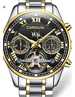 Χαμηλού Κόστους Brand Watches-Carnival Ανδρικά Αυτόματο κούρδισμα Διάφανο Ρολόι Εσωτερικού Μηχανισμού Ανοξείδωτο Ατσάλι Μπάντα Φυλαχτό Λευκή Χρυσό