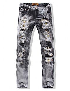 billige Herrebukser og -shorts-Herre Punk & Gotisk / Opplyst Store størrelser Bomull Tynn / Jeans Bukser Ensfarget