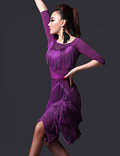 Latin Dance Dresses Women's Performance Chinlon Tassel(s) 2 Pieces Dress Shorts