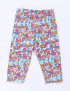 Girl's Green / Red Pants , Floral Cotton Spring / Fall