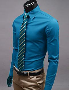 billige Herremote og klær-Tynn Klassisk krage Store størrelser Skjorte - Ensfarget Forretning Herre